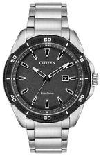 Citizen Eco-Drive Men's Black Dial Silver-Tone Bracelet 45mm Watch AW1588-57E