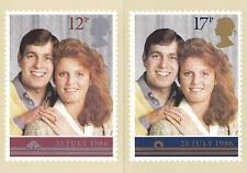 22 LUGLIO 1986 Matrimonio Reale COPPIA DI SCHEDE PHQ N. 95 come nuovo inutilizzato