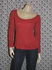 American Apparel Solid Red Scoop Neck Long Sleeve Top Shirt Blouse SMALL USED