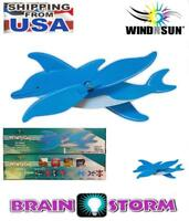 """Wind Spinner Dolphin Windmill 19""""-Long + Garden Pole Included Yard or Patio"""