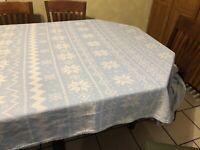 "Winter Wonderland Silver White Blue Tablecloth 60"" X 120"" Snowflake Pattern"