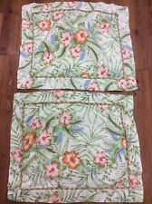 TROPICAL SHAMS SET OF 2 STANDARD PALMS HIBISCUS FLORAL GREEN ORANGE PINKS PIPING