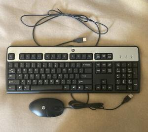 HP Wired Keyboard KU-0316 Black & Silver USB & HP Optical Mouse M-U0031-0