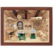 German 3D Wooden Shadow Box Picture Diorama Woodworking Carpentry Workshop