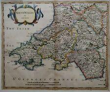 SOUTH  WALES 1695 ROBERT MORDEN GENUINE Antique MAP FROM Camden's Britannia