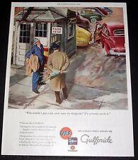 1945 OLD WWII MAGAZINE PRINT AD, GULFPRIDE, THE WORLD'S FINEST MOTOR OIL, ART!