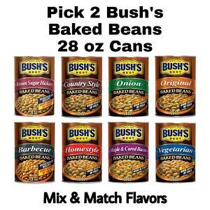 Pick 2 Bush's Baked Beans 28 oz Cans: Mix & Match Flavors BBQ, Vegetarian & More