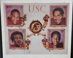 USC Trojans Simpson, Allen, White Garrett Signed Lithograph JSA Authenticated