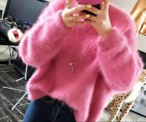 Womens Pullover Loose Cardigan Round Neck Casual Korean Chic Fur Sweater Tops NW