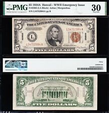 AWESOME Crisp Choice VF++ 1934 A $5 HAWAII Fed Reserve Note! PMG 30! FREE SHIP!