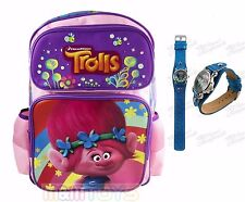 Trolls Poppy Large Back to School Canvas Backpack w/ Trolls Watch Glitter Band