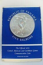 Vintage 1970 Republic of Panama Sterling Silver Games Commemorative Coin