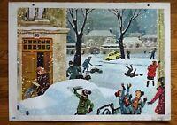 carte d'école - affiche scolaire 1960 - l'hiver et le mariage