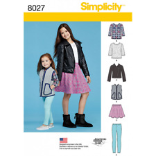 Simplicity Sewing Pattern Child Girls Jacket Vest Skirt Leggings 8027 Sz 3-6