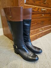 Bandolino Carllow Two-tone Black & Brown Leather Riding Boots Women Size 9M