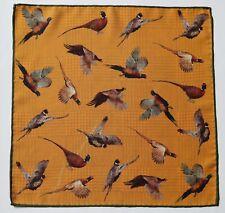 Double sided pocket square handkerchief. Mustard & green. Pheasant birds pattern