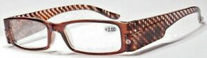 Reading glasses x 2.5  with Led lights . Brown stripe
