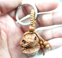 30*27MM Hand-carved Golden toad Wooden Crafts,Key Chain,Key Ring Lover e13