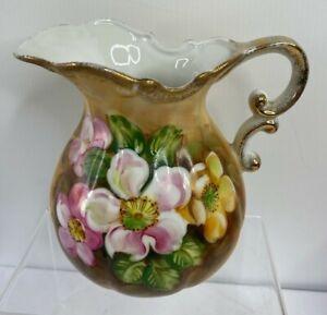 "Vtg Homeco Japan Hand Painted Floral Pitcher Gold Tone Tone Trim 6"""
