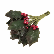 9 Stems Artifical Green Holly Leaves Red Berries Decorations Craft 9cm Long