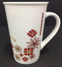 2013 Starbucks Holiday Poinsettia Snowflake Red Gold 12 Oz Tall Coffee Cup Mug