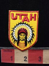 Native American Indian In Full Headdress ~ Souvenir Patch State Of Utah C69C
