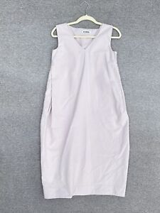 JIL SANDER Light Pink Sleeveless V Neck Dress Midi Cotton Size 34 US 4 Small