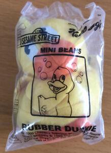 RUBBER DUCKIE McDonald's Kellogg's Sesame Street Mini Bean Plush Toy NIB Mint