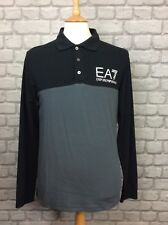 ARMANI EA7 MENS UK M BLACK LONG SLEEVE CORE  COLLARED POLO TOP RRP £80.00