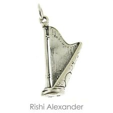 925 Sterling Silver Harp Charm Made in USA