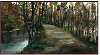 A Country Road Along a Slow River ORIGINAL OIL PAINTING impressionist Art PRINT