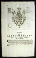 LOUIS D ARRAGON et OCTAVIO VISCOMTE Heraldique blasons Gravure originale 1667