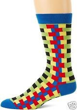 K.Bell Men's Pair Socks Dark Red Blue Yellow Zipper Stripes Cotton Blend NWT