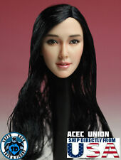 "IN STOCK 1/6 Asian Female Head Sculpt Black Hair For 12"" Hot Toys Phicen U.S.A."