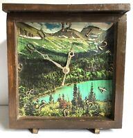 "Clock Rustic Wood Box Prison Art Inmate Folk Art Mountain Lake 9.5"" Vtg"