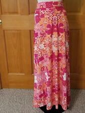 Sz L LuLaRoe Long Maxi Skirt Pink Peach Red