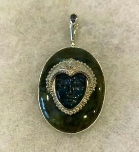 Sajen Obsidian Goddess on Labradorite Pendant  2 1/4 In. Long - 33.9 Grams