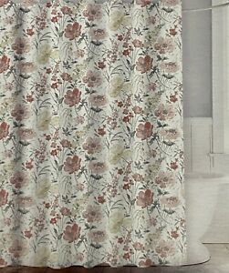 Field Of Flowers Pink Floral Damask Fabric Shower Curtain 100%Cotton