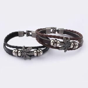 1Pcs Ganja Cannabis Hemp Bangle Marijuana Leaf Braided Leather Bracelet Jewelry