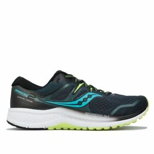 Men's Saucony Omni ISO 2 Breathable Cushioned Running Trainer Shoes in Green