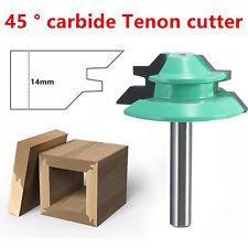 "45 Degree Tenon Miter Router Bit 1/4"" Shank 1-1/2"" Diameter Wood Cutter Tool New"