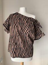 Zara Zebra Print Camel Asymmetric Cotton Top Blouse. Size L
