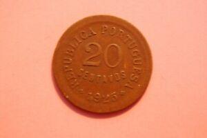 PORTUGAL - 1925 TWENTY CENTAVOS (20c) BRONZE COIN