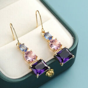 Elegant Rose Gold Filled Diamond Inlaid Zircon Earrings Women Oval Dangle Gift