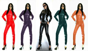 PU FAUX LEATHER CATSUIT BLACK GREEN PURPLE CREAM Size 6-16 UK NEW WITH TAGS