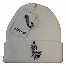 Real Mike Tyson Tiger Beanie Invierno Fact Boxeo Enrollable Blanco Lanudo Sombrero