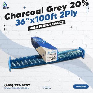 """Window Tint Charcoal Grey 20% Protec 36""""x100ft High Performance 2Ply"""