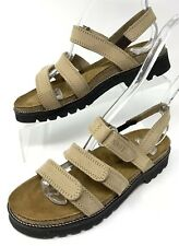 Naot Womens Beige Leather Strappy Slingback Flat Sandals Size 37 US 6