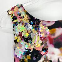 Kobi Halperin Womens Multicolor Sleeveless Rainbow Sequin Terrie Blouse Sz Small