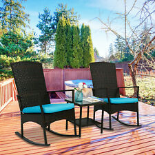 3 PCS Rattan Wicker Patio Furniture Set Rocking Chair W/ Coffee Table Cushioned